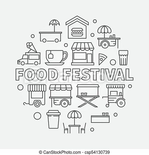 Food Festival Vector Line Illustration Street Food Symbol Food