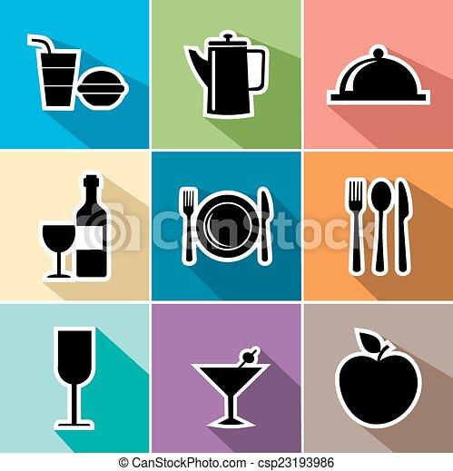 Food flat icons set illustration - csp23193986