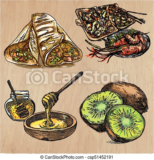 Food Freehands Hand Drawn Vector Collection Line Art Technique