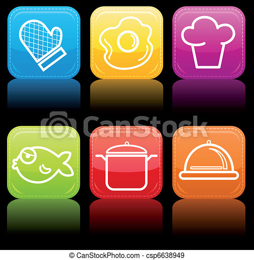 Food icon buttons glossy set - csp6638949