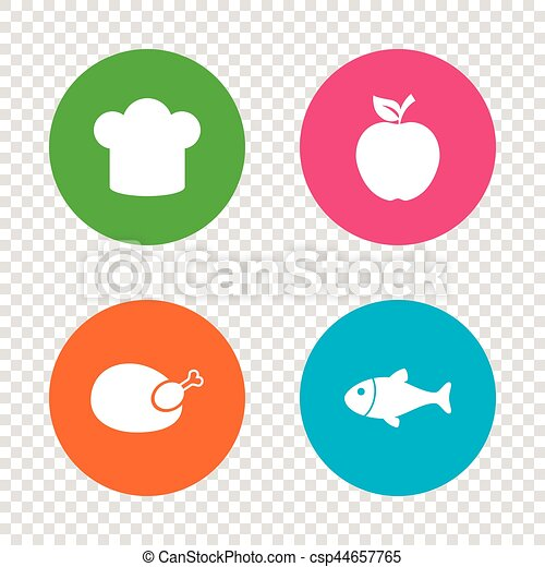 Food Icons Apple Fruit With Leaf Symbol Chicken Hen Bird Meat Sign