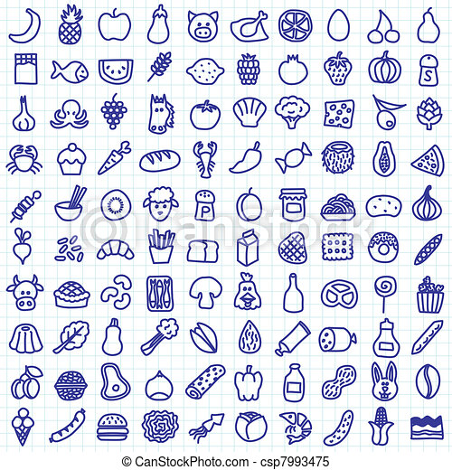 one hundred hand drawn food icons rh canstockphoto com clipart icons for powerpoint clip art constitution