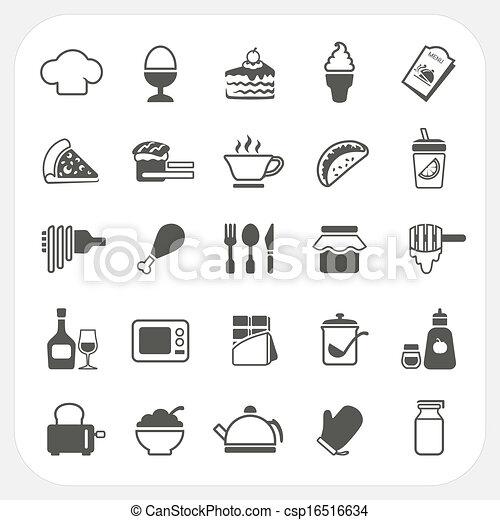 Food icons set on white background - csp16516634