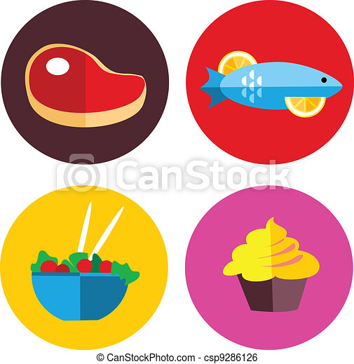 food icons with meat and vegetarian food - csp9286126