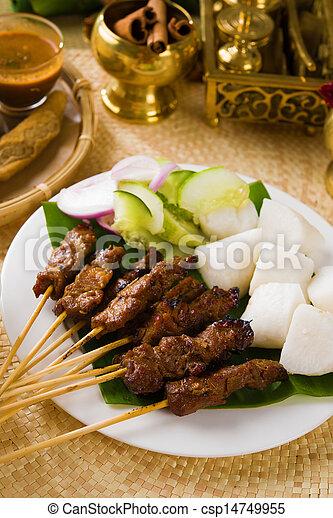 food, indonesian, malaysia, dish, indonesia, sate, meat, isolate - csp14749955