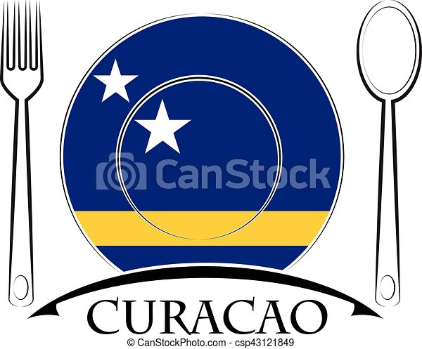 Food logo made from the flag of Curacao - csp43121849