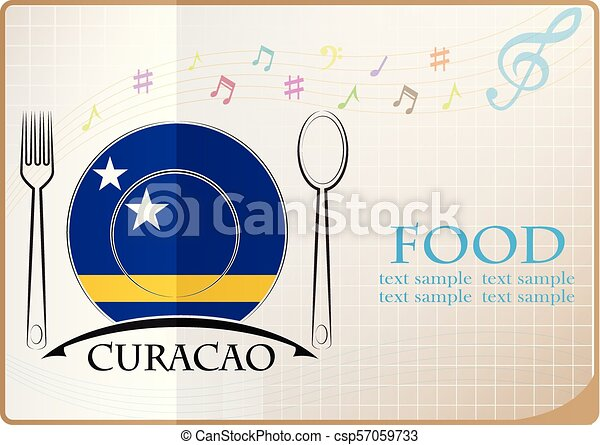 Food logo made from the flag of Curacao - csp57059733