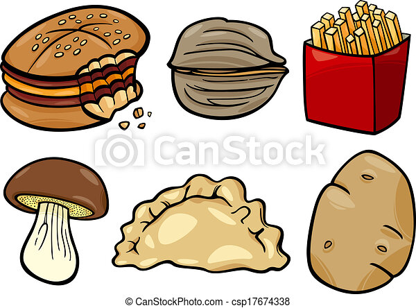 food objects cartoon illustration set - csp17674338