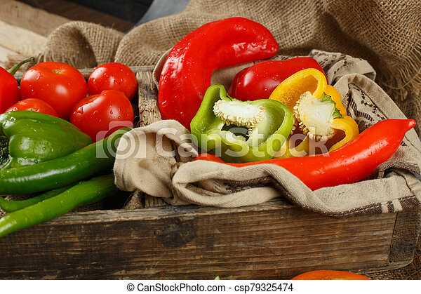 Food on a wooden table - csp79325474