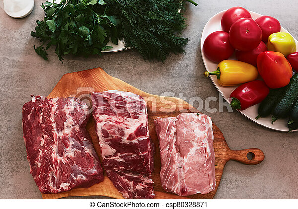Food on a wooden table - csp80328871