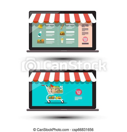 Food Online Store Concpt. E Shop Icons. E-commerce Vector Design. E-shop App on Notebook Computers. - csp66831656