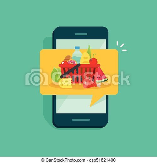 Food ordering or delivery service on mobile phone vector illustration flat  design, concept of online food shopping from smartphone