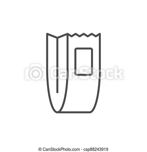 Food paper bag line outline icon - csp88243919
