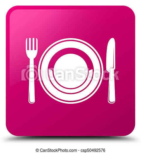 Food plate icon pink square button - csp50492576
