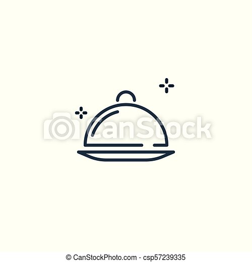 Food platter serving line icon. - csp57239335