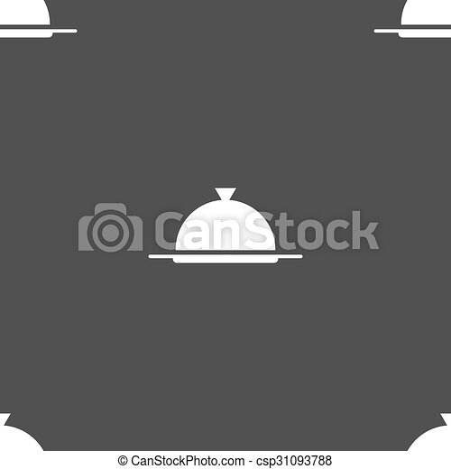 Food platter serving sign icon. Table setting in restaurant symbol. Seamless pattern on a gray background. Vector - csp31093788