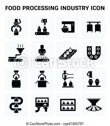 Food processing icon. Food processing industry and ...