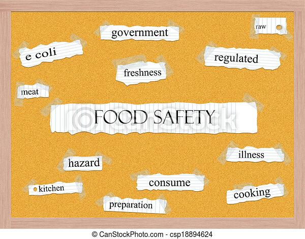 Food Safety Corkboard Word Concept - csp18894624