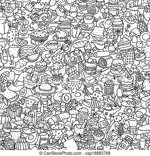 Food seamless pattern in black and white repeated with mini doodle drawings icons illustration is in eps8 vector mode
