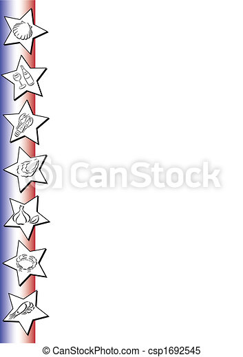 Food Symbols On French Colors White Background With A Border In The