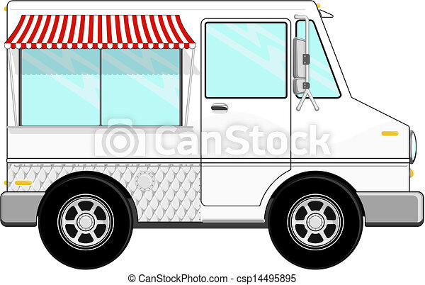 Food Truck Cartoon Vector