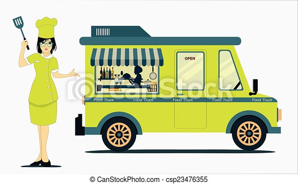 Food Truck Cook With A White Background Clipart Vector