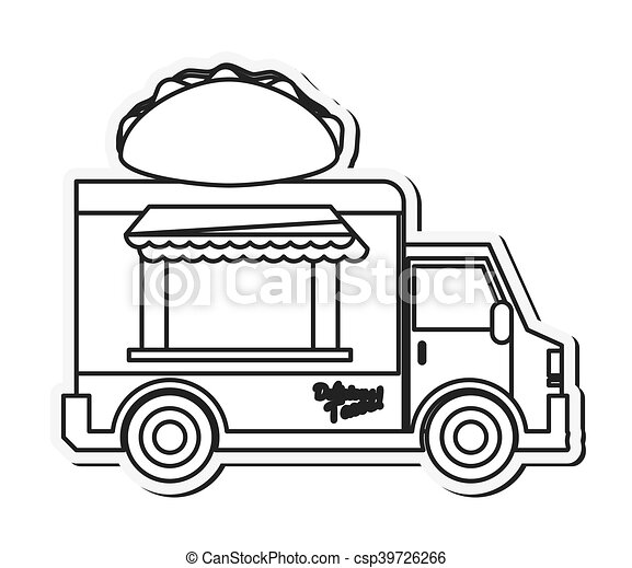 Food truck delivery design. Taco truck delivery fast food ...