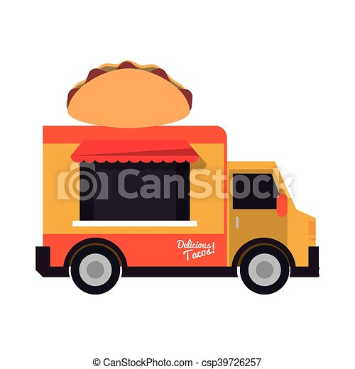 Food Truck Delivery Design Taco Truck Delivery Fast Food Urban