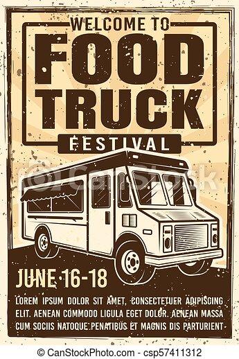 Food truck festival advertising vintage poster - csp57411312
