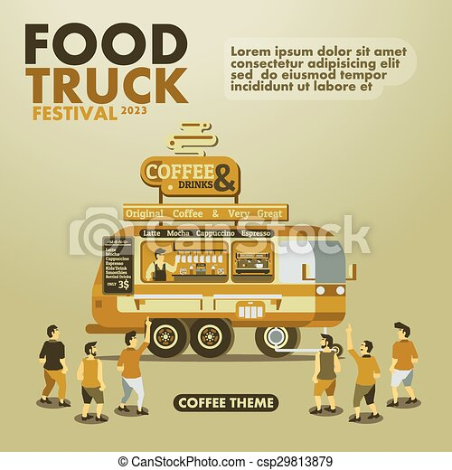 Food Truck Festival Poster With GourmetCoffee Theme