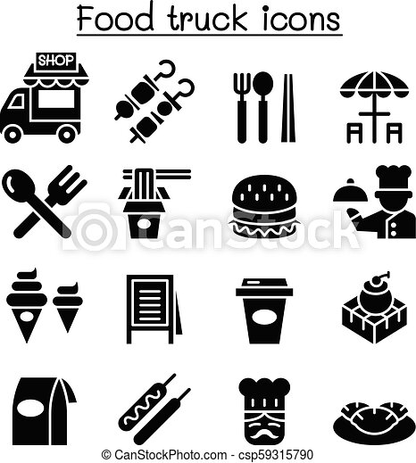 Food truck icon set - csp59315790