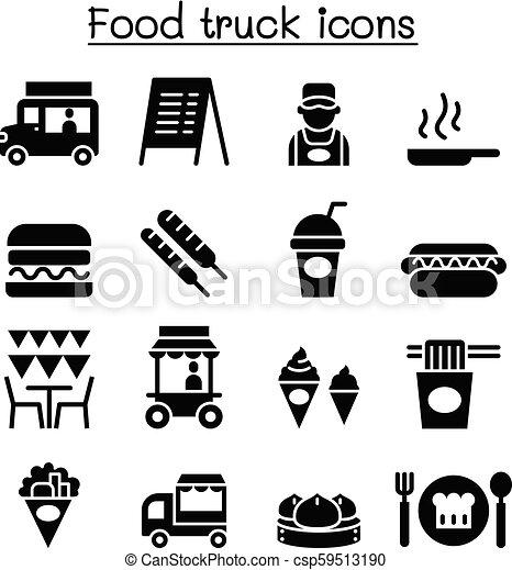Food truck icon set - csp59513190