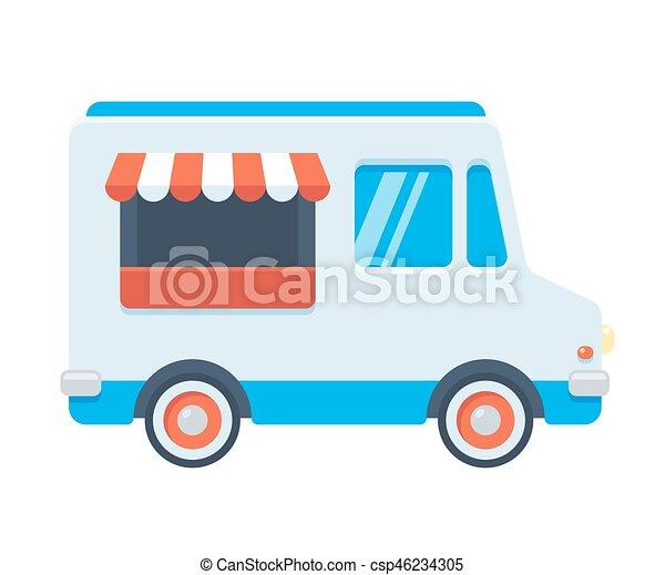 Cute Retro Food Truck Illustration In Flat Cartoon Vector
