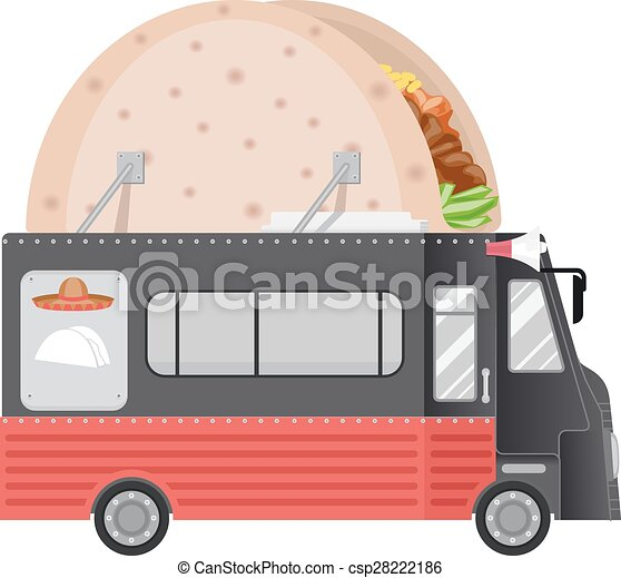 Food Truck Tacos Illustration Of A Food Truck With A Taco