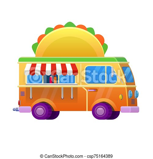 Food truck traditional mexican Taco. Vehicle icon vector illustration cartoon style - csp75164389