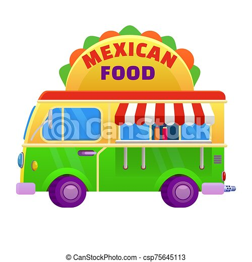 Food truck traditional mexican Taco. Vehicle icon vector illustration cartoon style - csp75645113