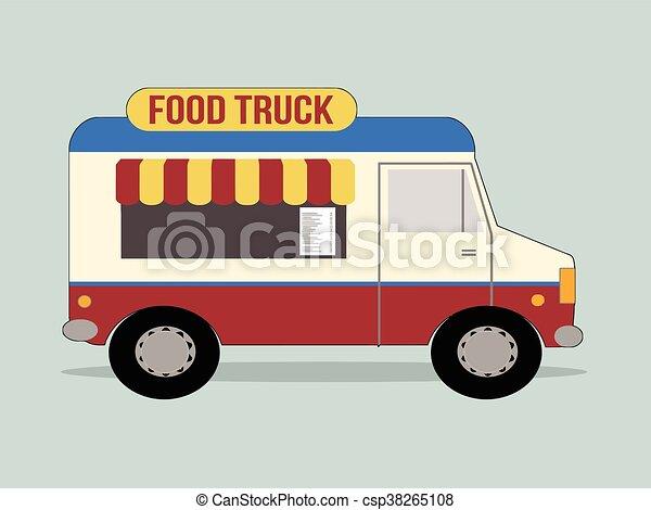 Vector Illustration Of Food Truck Clipart