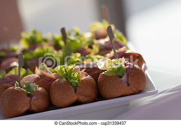 Food was prepared for the wedding dinner.  - csp31339437