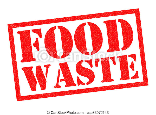 Food waste red rubber stamp over a white background.