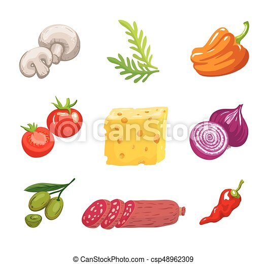 Foodstuffs. ingredients for pizza. set of color sketches on white ...