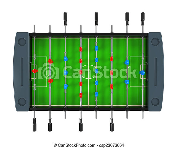 Foosball Soccer Table Game Isolated On White Background