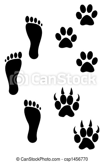 Foot and paw prints - csp1456770
