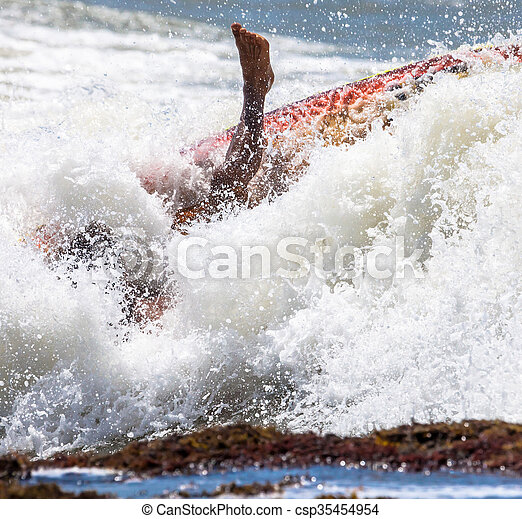foot immersed in the surf - csp35454954