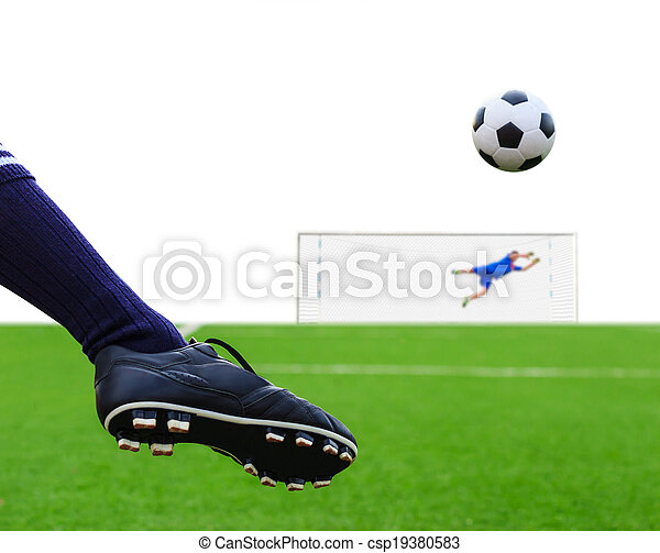 foot kicking soccer ball isolated - csp19380583