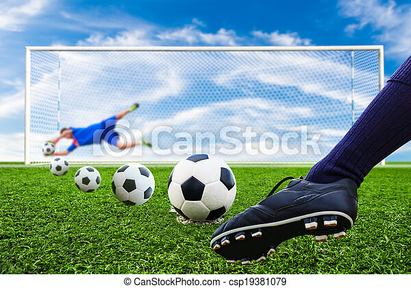 foot kicking soccer ball - csp19381079