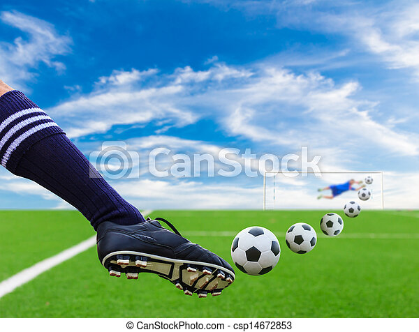 foot kicking soccer ball - csp14672853
