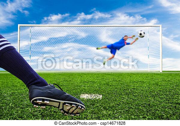 foot kicking soccer ball - csp14671828