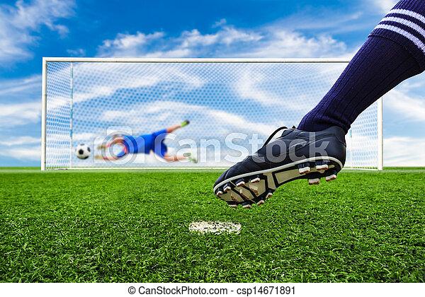 foot kicking soccer ball - csp14671891