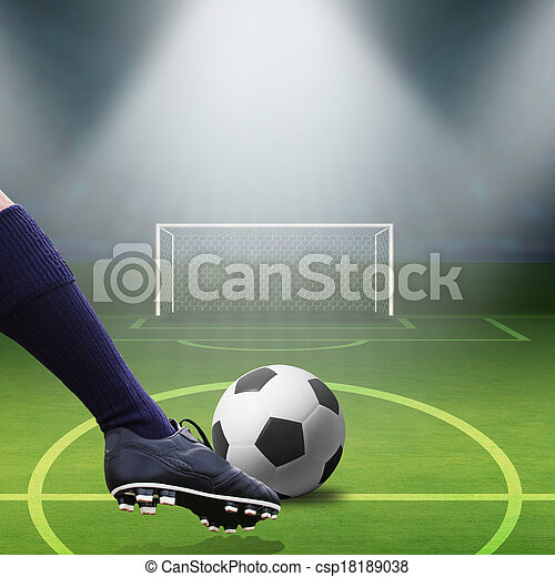 foot kicking soccer ball - csp18189038