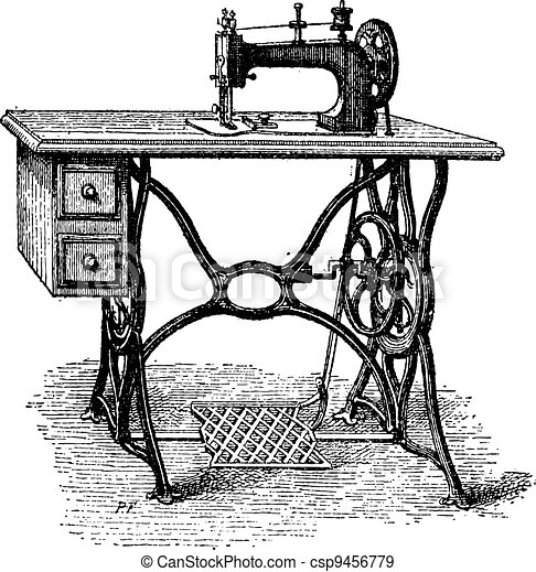 Foot-powered Sewing Machine, vintage engraving - csp9456779